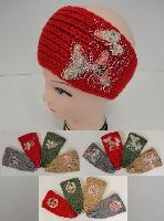 Hand Knitted Ear Band [Embroidered with Rhinestones]